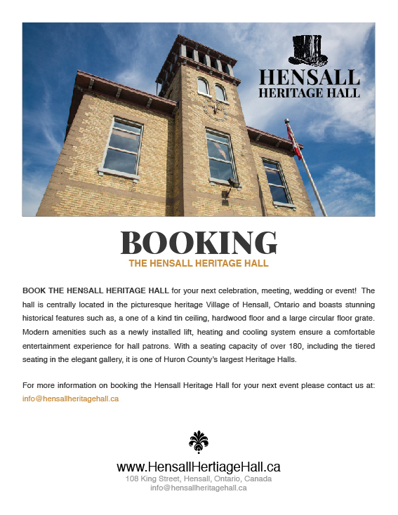 Book the Hensall Heritage Hall Today!
